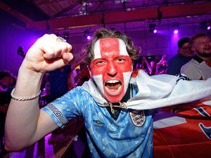 Tom Hancox cheers on England at The Hangar, Wolverhampton