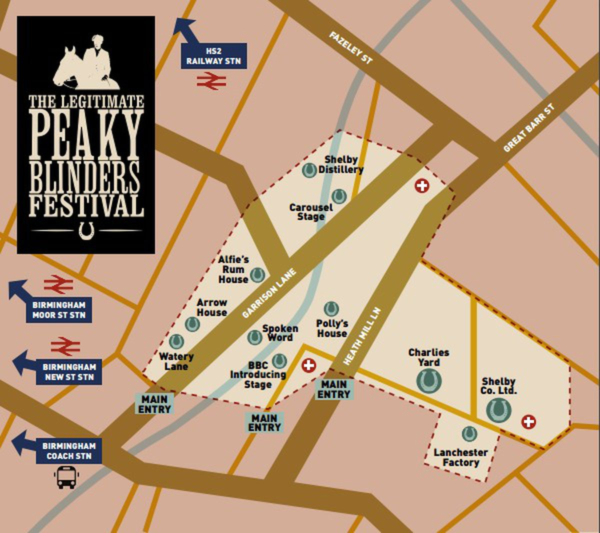 A site map of The Legitimate Peaky Blinders Festival