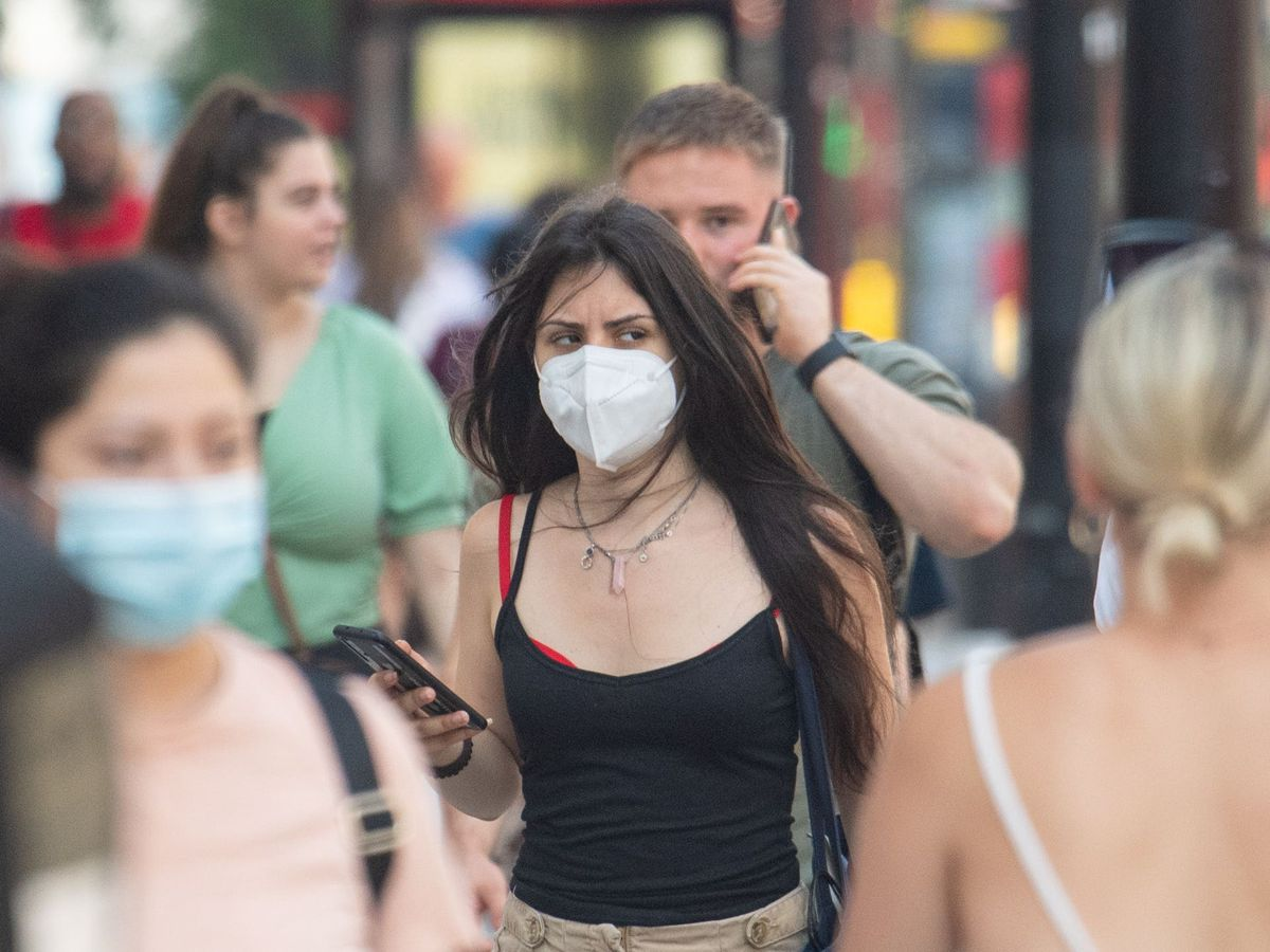 People wearing face masks in central London