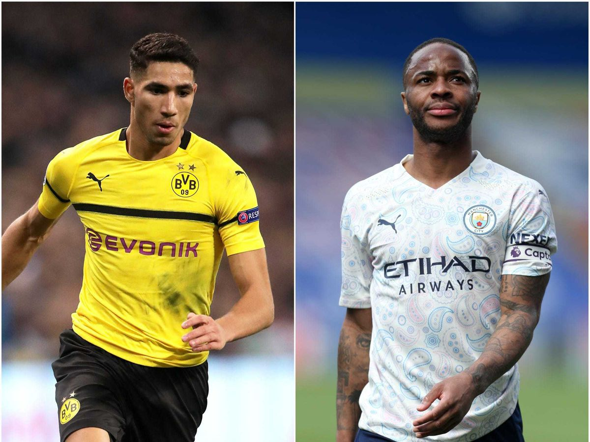 Composite image of Achraf Hakimi (left) and Raheem Sterling