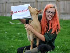 Farm apprentice Millie Garbett and April the goat are happy that Forge Mill Farm, West Bromwich is open again