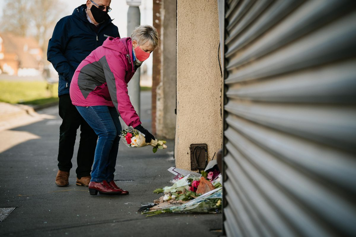 Flowers are left on Brownhills High Street