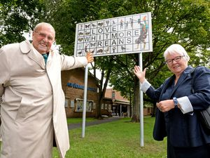 Pictured celebrating the new signs are Peter Holmes MBE, chair of Whitmore Reans Connect, and Councillor for St Peter's Lynne Moran
