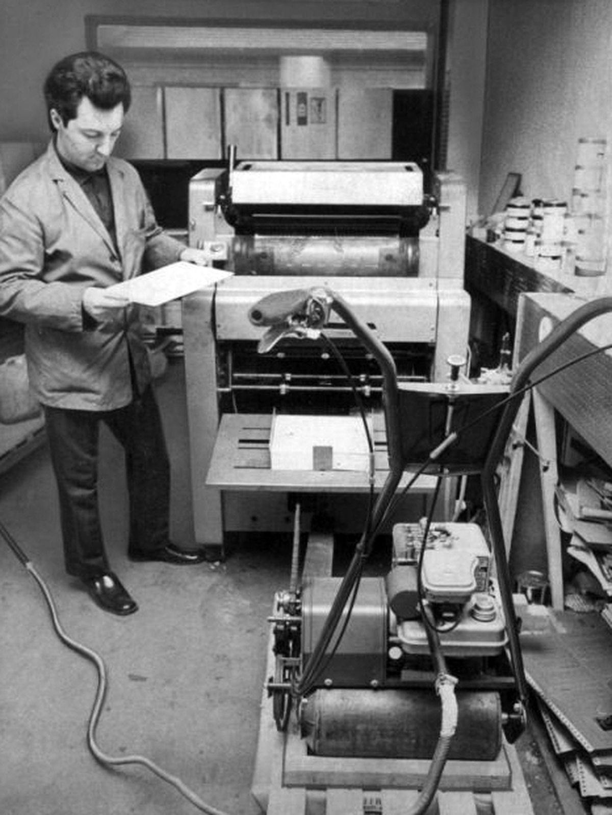 John Fisher of Stafford Reprographics used power from his petrol lawnmower to drive his printing press in February 1974.