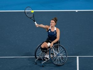 Handout photo dated 04/09/2021 provided by OIS of Lucy Shuker GBR and Jordanne Whiley GBR playing against Diede de Groot NED and Aniek van Koot NED in the Women's Doubles Wheelchair Tennis Gold Medal Match at the Ariake Tennis Park on day eleven of the Tokyo 2020 Paralympic Games in Japan. Picture date: Saturday September 4, 2021. PA Photo. See PA story PARALYMPICS Tennis. Photo credit should read: Photo credit should read: Bob Martin for OIS/PA Wire...NOTE TO EDITORS: This handout photo may only be used in for editorial reporting purposes for the contemporaneous illustration of events, things or the people in the image or facts mentioned in the caption. Reuse of the picture may require further permission from the copyright holder..