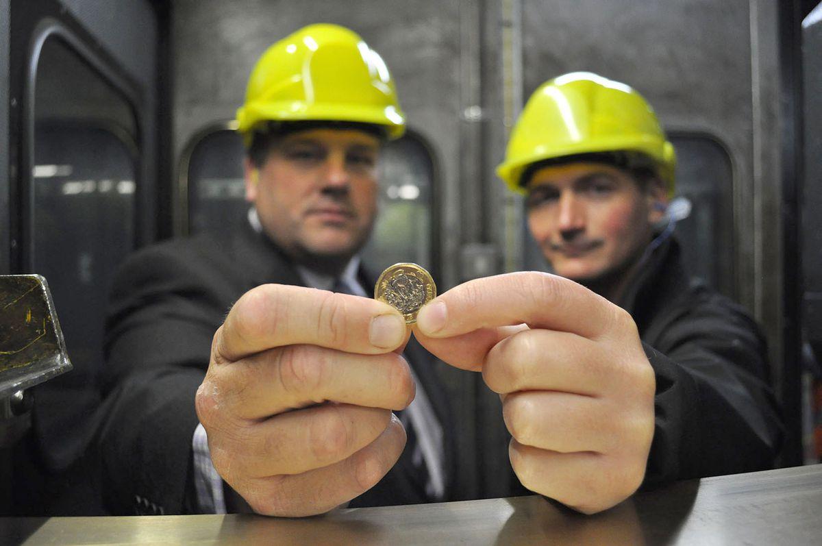 From left: Adrian Haller of Bruderer UK with Mervyn Evans from the Royal Mint