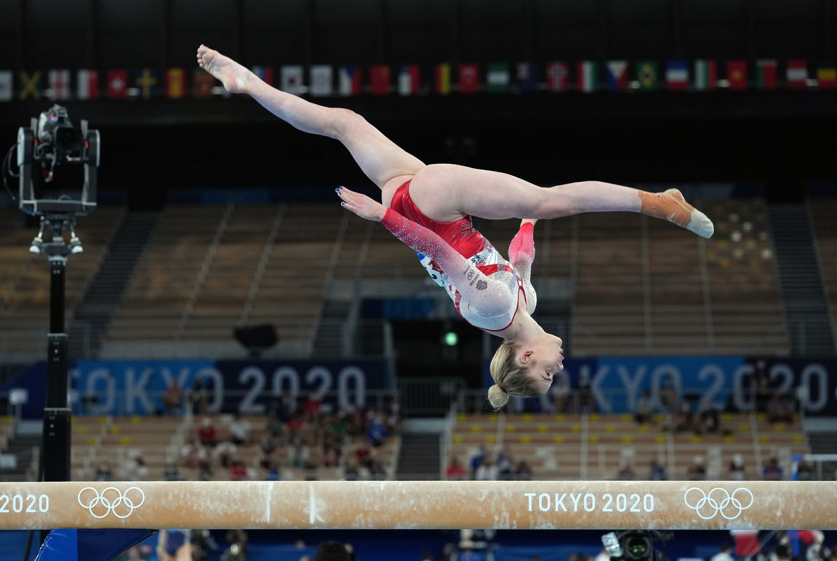 Alice Kinsella on the Balance Beam during the Women's Team Final in Tokyo