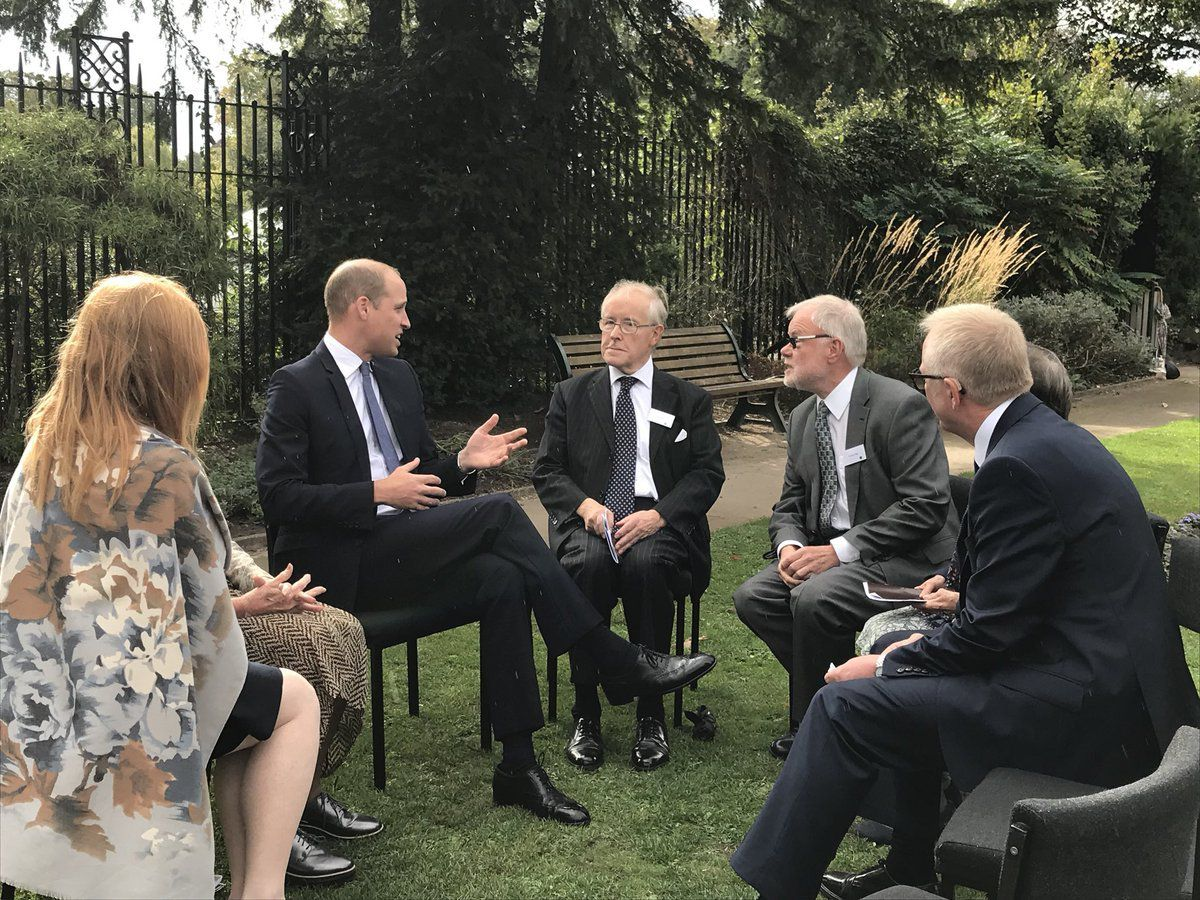 Prince William chats to Frank Foley's family including his great nephew Stephen Higgs