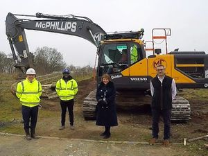 Regeneration of the site will deliver new light industrial unitsPaul Inions - Managing Director at McPhillips, James Stephens - Assistant Site Manager at McPhillips, Cllr Mary Raynor - Wyre Forest District Council Cabinet Member for Finance and Capital, and Ed Bradburn - Investment Director at FDC