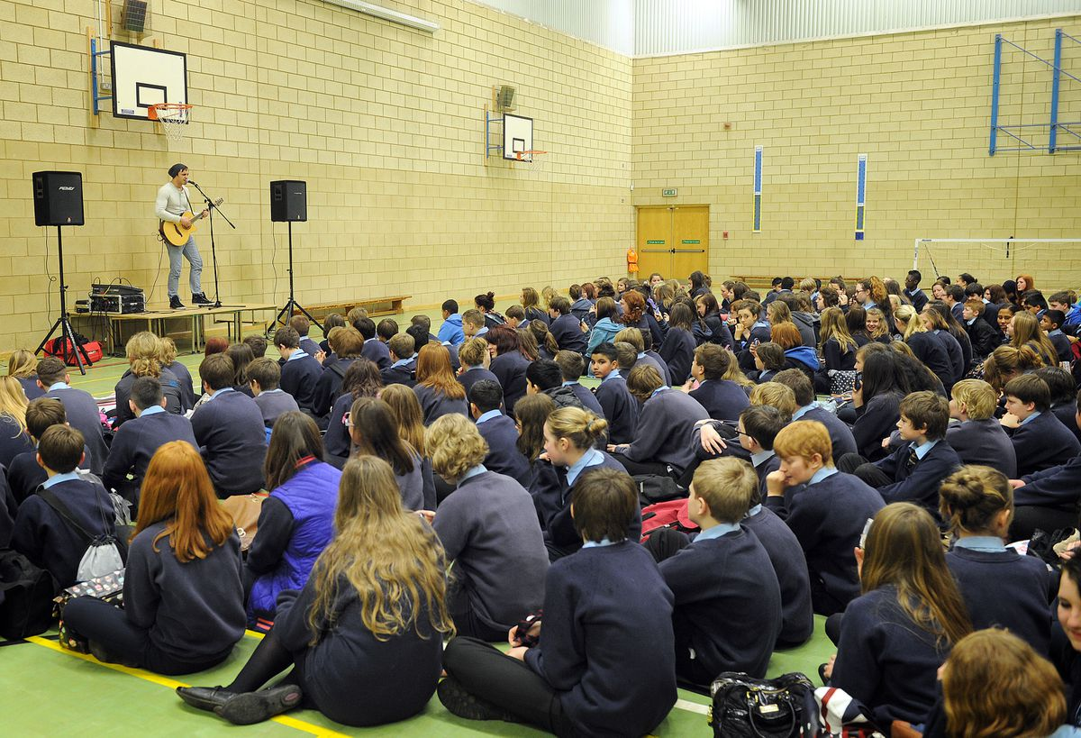 Joseph Whelan in action at the school concert.