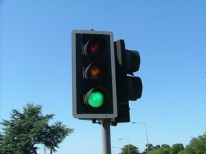 Traffic lights: orange, yellow and grey