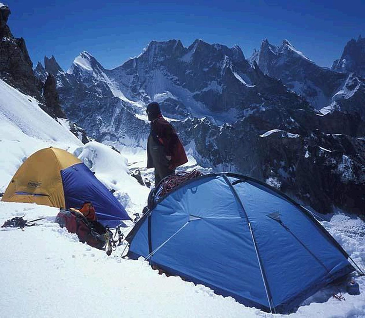The mountaineering team pictured as they prepare for the next leg on K2