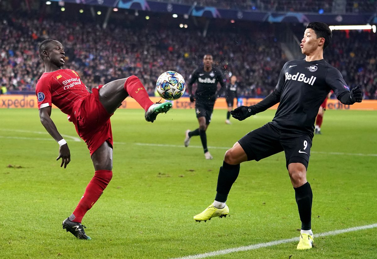 Hee-Chan Hwang in action for former club Red Bull Salzburg against Liverpool in the Champions League. The forward is understood to be a Wolves target. Pic: PA