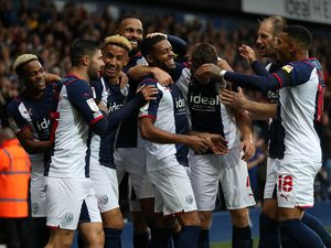 West Bromwich Albion players celebrates after a Darnell Furlong of West Bromwich Albion throw into the box caused an own goal from Luton Town to make the score 1-0. (AMA)