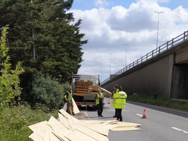 WATCH: Warning after roadworker struck by metal from lorry