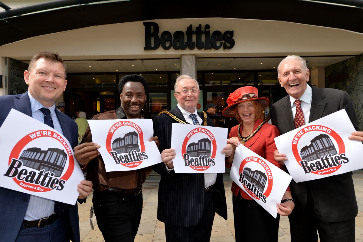Express & Star editor Keith Harrison, Donchez Dacres from Britain's Got Talent, Mayor and Mayoress of Wolverhampton, Phil Page and Elaine Hadley-Howell and Wolverhampton broadcaster and cycling legend Hugh Porter at the store
