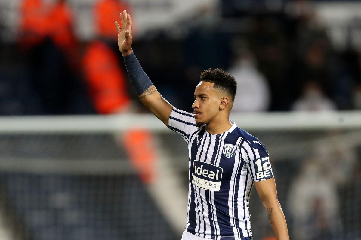 Matheus Pereira of West Bromwich Albion waves to the West Bromwich Albion Fans at the end of the match. (AMA)