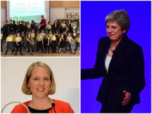 Clockwise from top left: The school take part in the dance off with music emulating Theresa May with MP Emma Reynolds taking part