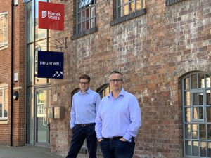 Partner James Howard and managing partner Tim Pearce outside Haines Watts' new Worcester office