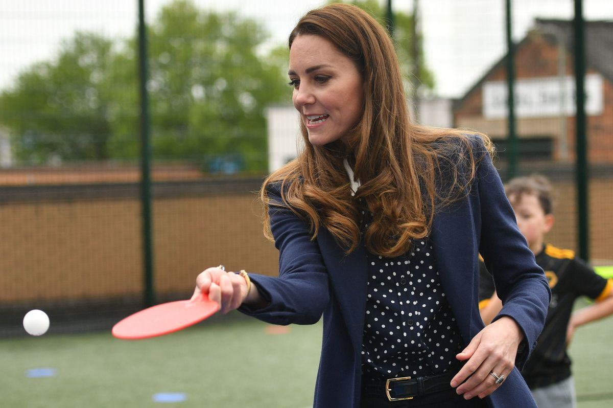 Kate tries out her table tennis skills