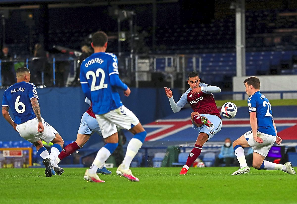 """Aston Villa's Anwar El Ghazi scores their side's second goal of the game during the Premier League match at Goodison Park, Liverpool. Issue date: Saturday May 1, 2021. PA Photo. See PA story SOCCER Everton. Photo credit should read: Peter Byrne/PA Wire.   RESTRICTIONS: EDITORIAL USE ONLY No use  with unauthorised audio, video, data, fixture lists, club/league logos or """"live"""" services. Online in-match use limited to 120 images, no video emulation. No use in betting, games or single club/league/player publications."""