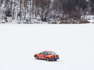 This competition offers a cash prize for guessing when the car will fall through the ice