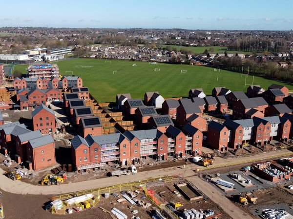 Aerial picture of continuing building work on the huge Marches development, a new £34 million housing development in Wolverhampton