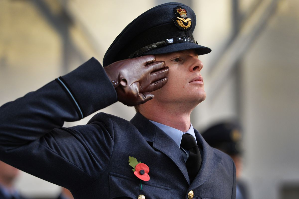 Flight officer Conor Richardson at the Remembrance Service at RAF Cosford