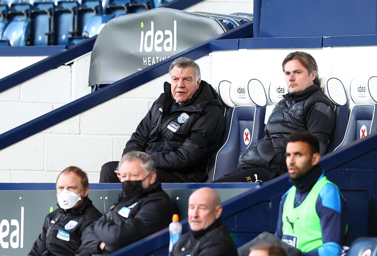 West Bromwich Albion manager Sam Allardyce watches on