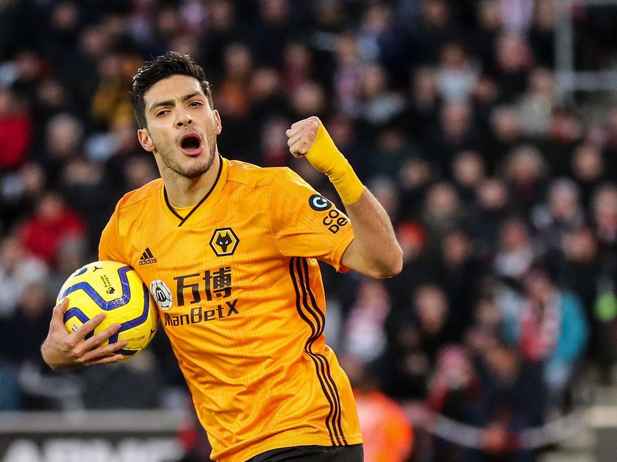 Raul Jimenez of Wolverhampton Wanderers celebrates after scoring a goal