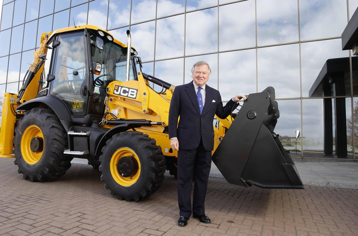 JCB chairman Lord Bamford outside the company headquarters in Rocester