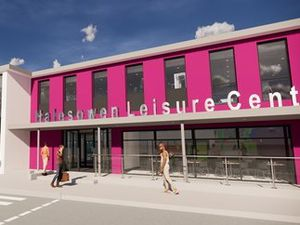 The new -look leisure centre, according to an artist's impression