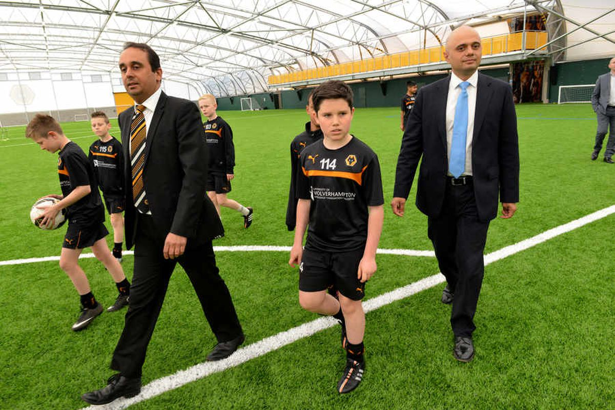 Culture Secretary Sajid Javid joins Conservative candidate Paul Uppal at Wolves' £50m training ground