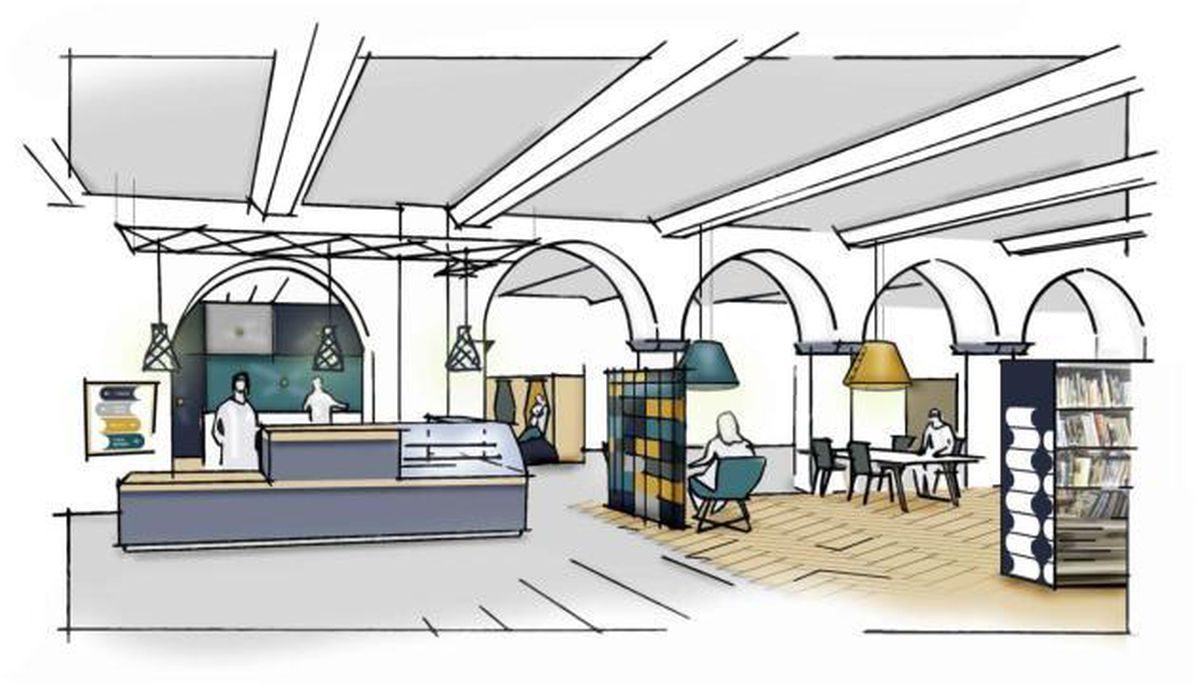 An artists impression of the new ground floor entrance at Walsall's Central Library