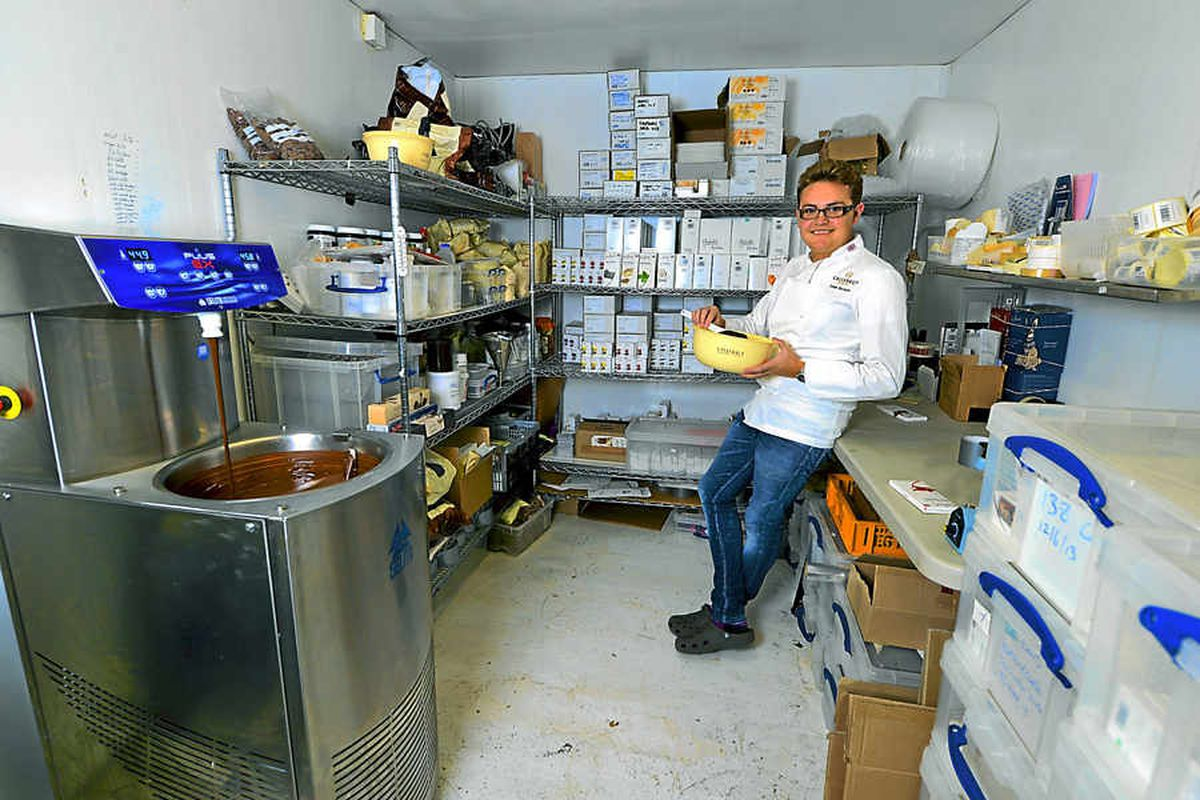 The heart of Louis's chocolate-making operation is in a garage in Enville