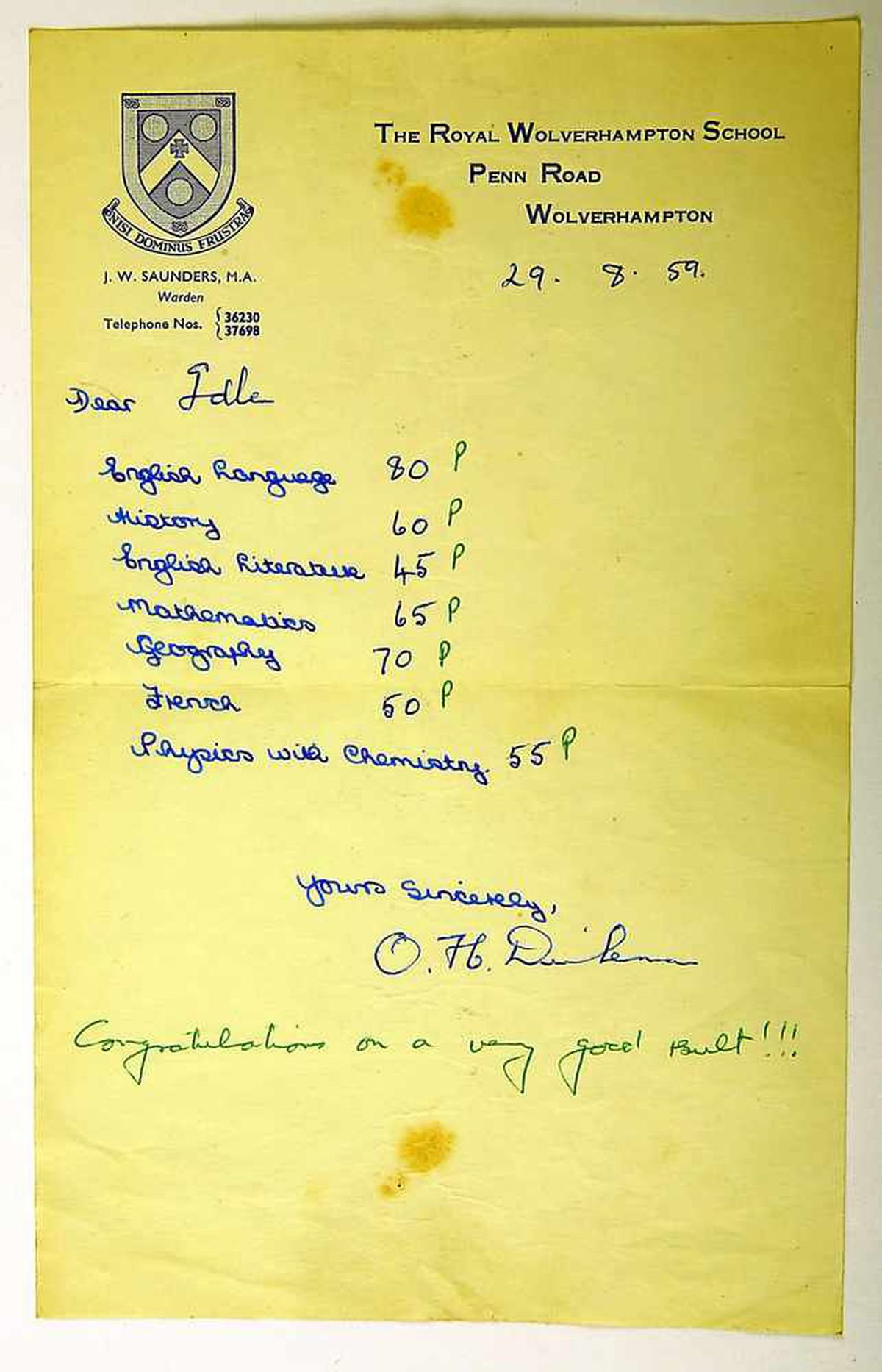 Report from the Royal Wolverhampton School, 1959