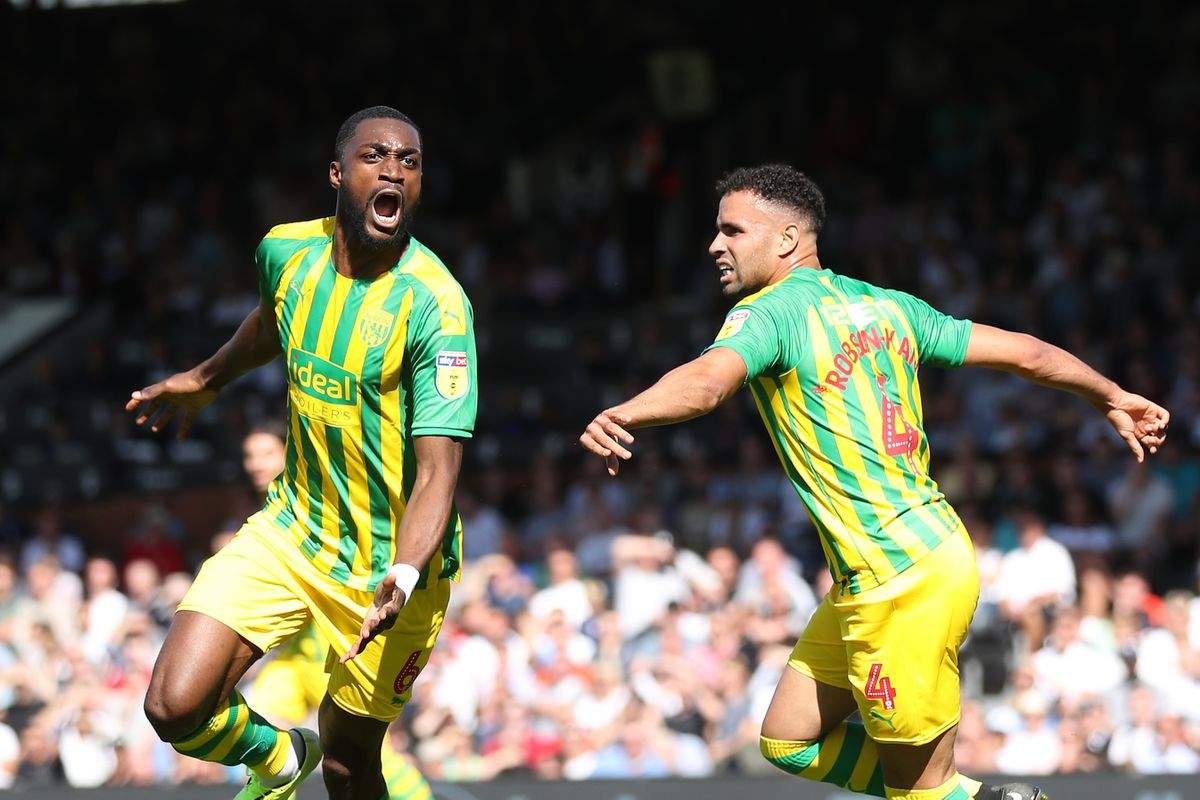 Semi Ajayi of West Bromwich Albion celebrates after scoring a goal to make it 1-1 with Hal Robson-Kanu of West Bromwich Albion. (AMA)