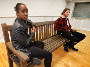 Appearing in Birmingham Rep tour of a series of 'Park Bench Plays', actors Taja Luegaezor Christian, as Janelle, and Liam Jeavons, as Terry, at Dorothy Parkes Centre, Smethwick.