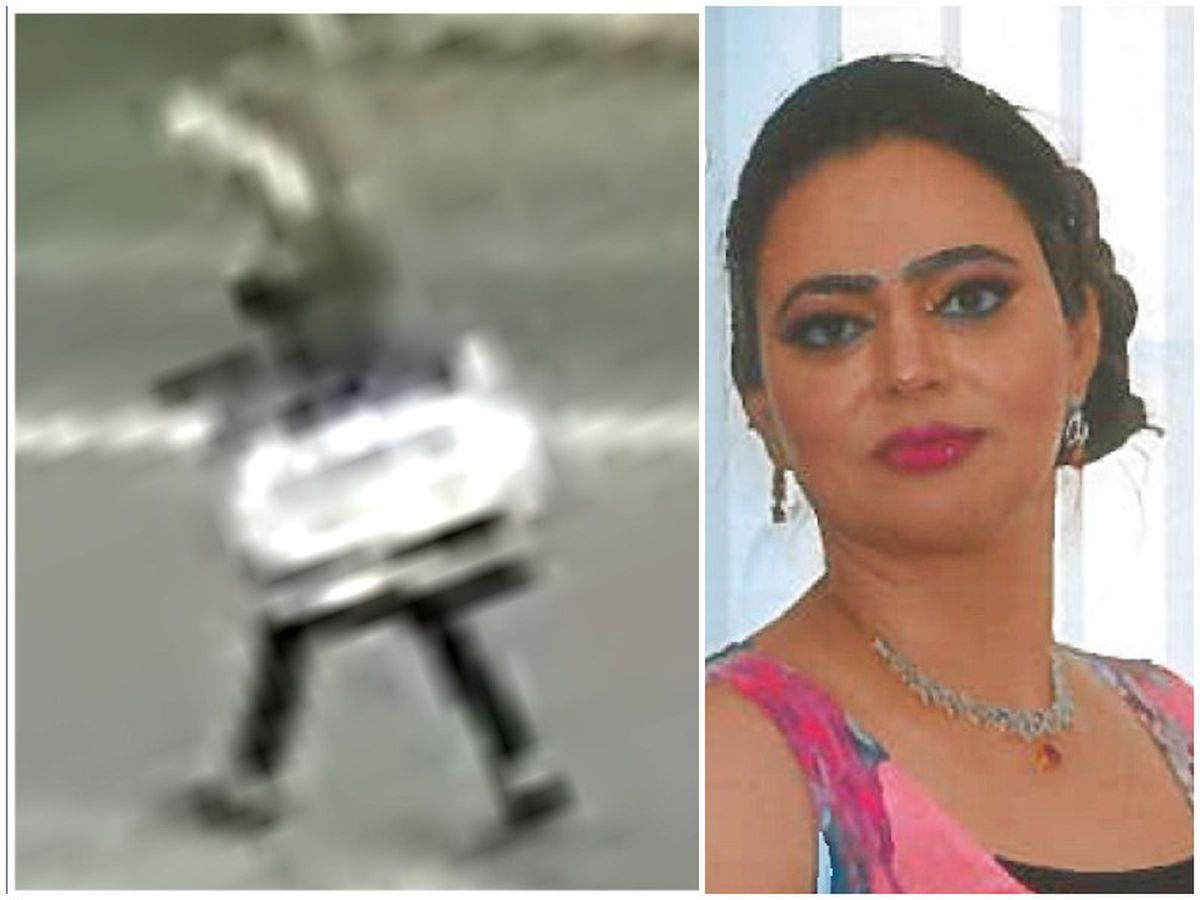 Do you recognise this woman? Police want to speak to her after the murder of, right, Sarbjit Kaur