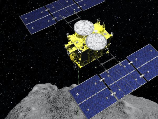 The Hayabusa2 spacecraft above the asteroid Ryugu