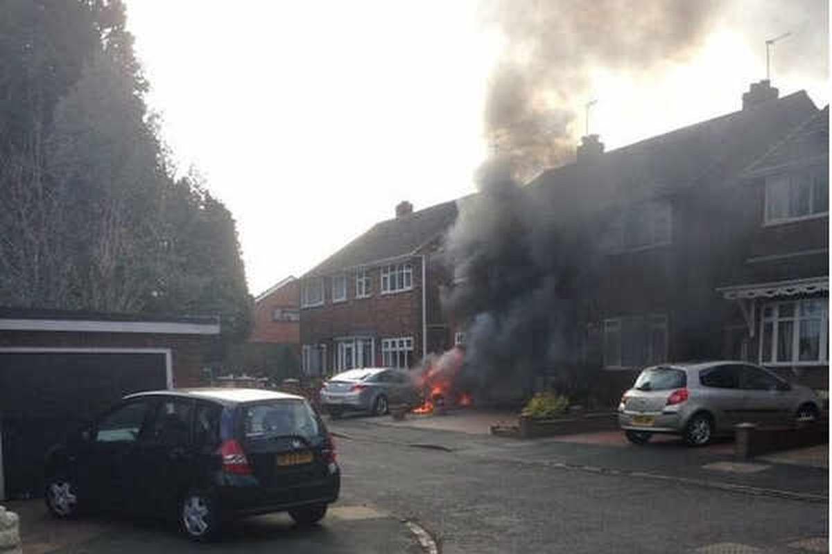 Ferocious car fire in Tipton