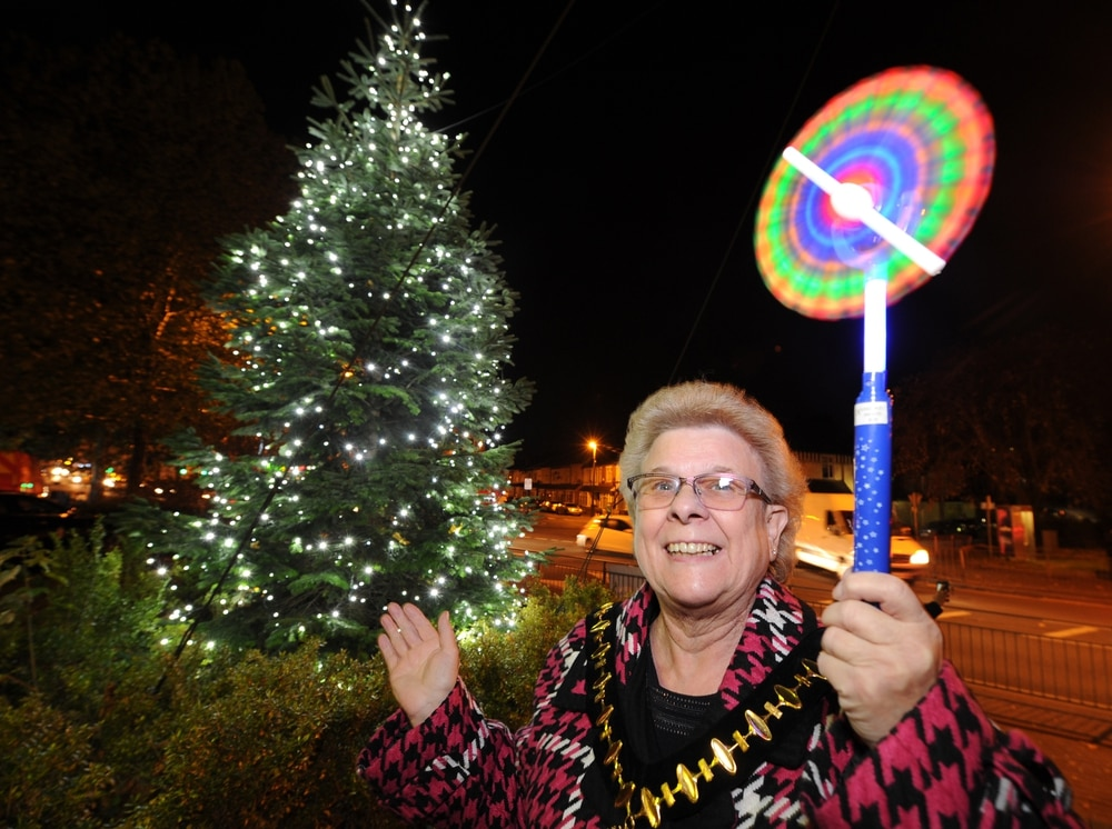 mayor of sandwell joy edis at the lights event in smethwick its not even bonfire night - On This Night On This Very Christmas Night