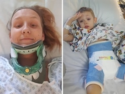 Mother and son separated for a week as hips, ribs and thigh broken in crash