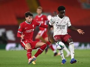 "Liverpool's Neco Williams (left) and Arsenal's Bukayo Saka battle for the ball during the Carabao Cup fourth round match at Anfield, Liverpool. PA Photo. Picture date: Thursday October 1, 2020. See PA story SOCCER Liverpool. Photo credit should read: Laurence Griffiths/PA Wire.   EDITORIAL  USE ONLY No use with unauthorised audio, video, data, fixture lists, club/league logos or ""live"" services. Online in-match use limited to 120 images, no video emulation. No use in betting, games or single club/league/player publications."