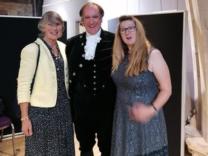Sheila McMahon (right) at the presentation with the High Sheriff of Staffordshire, Mr Jamie Friend and wife Sanda.