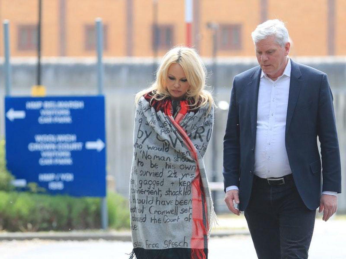 Pamela Anderson outside Belmarsh Prison