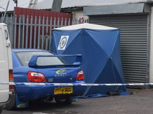 A blue forensic tent at the scene in Rowley Regis. Photo: SnapperSK