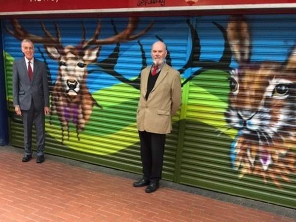 Artist helps brighten up shutters in Cannock