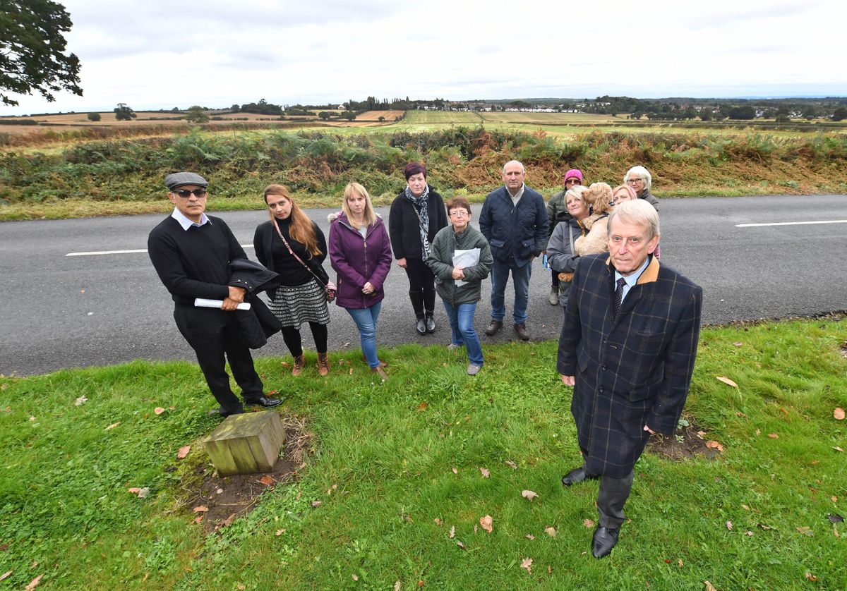 Councillor Chris Towe and local residents against the plans for housing on land off Doe Bank Lane, Pheasey