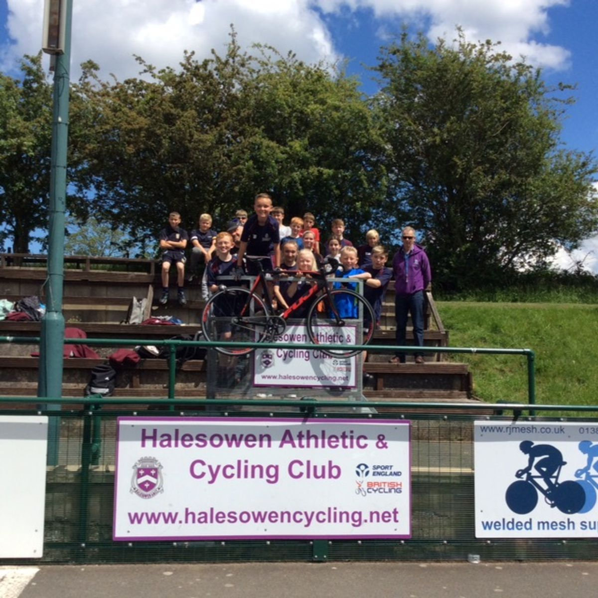 Youngsters from Dudley Invictus try out the cycling track